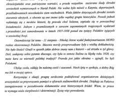 List z okazji 80. rocznicy Operacji Polskiej NKWD