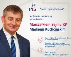 9 czerwca marszałek Sejmu spotka się z mieszkańcami Ryk i Rejowca Fabrycznego
